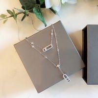 Europeo 925 plata esterlina diamante messika bolígrafo collar doble capa joyería fina para las mujeres venta caliente famosa marca C0305