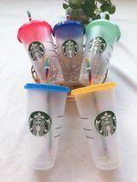 DHL Starbucks Tazza 16oz, bicchieri da 24 once tazze di succo di plastica con il succo di plastica con labbra e paglia tazza da caffè magica costom trasparente cupdouble dea durdess regalo