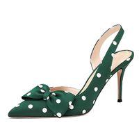 Lovires Womens Bow Gravata Slingback 8.5cm Bombas apontadas Toe Stiletto Saltos de Polka Dot Steel Sapatos de festa de vestido mais tamanho US5-15 210225
