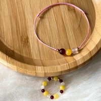 Earrings & Necklace Women Bracelets Rings Set Teen Girl Carnelian Yellow Beads Jewelry Aesthetic Natural Stones Thread Accessories Gifts Gir