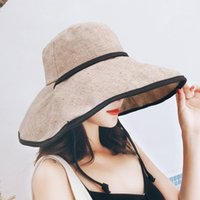 Wide Brim Hats Women Sun-Protection Fashion Leisure Fisherman Cap Bucket Great Shade Drawstring Ladies Vacation All-match Simple