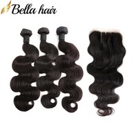 Malaysian Hair Bundle with Closure Body wave Unprocessed Human Virgin Hair Weft Extensions 4x4 3 Part Lace Closure 4pcs lot DHL Bella Hair
