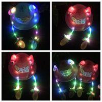 Cloches 유아 키즈 귀여운 LED 조명 에어백 이동 귀에 양동이 모자 어린이 태양 Proctection 짠 밀짚 모자 PO 소품