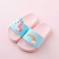 2021 Trazado de verano Flip Flaops Baby Interior zapatillas Playa Natación Slipper Unicorn Slippers para Boy Girl Historieta Rainbow Zapatos