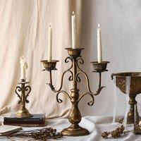 Lüks Vintage Şamdan Avrupa Romantik Amerikan Demir Mumluk Hatble Centerpiece Düğün Dekorasyon Süsler C6H