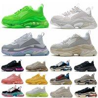Erkek 17FW Çiftler Üçlü S Temizle Sole Rahat Ayakkabılar Kristal Alt Sneakers Tüm Siyah Beyaz Yeşil Pembe Mavi Kırmızı Gökkuşağı Spor Açık Erkekler Kadınlar Eski Baba Ayakkabı