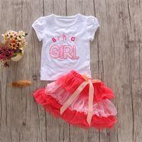 Neonate Birthday Party Stilked nastro Bow Bow Tutu Gonna Outfits Bambini Ragazza Lettera T-Shirt Abiti Torta Set Vestiti 1-6Y 446 Y2