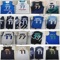Hombres cosidos Doncic 77 Luka Jerseys Baloncesto 2021 Juegos Olímpicos Eslovenia Team Azul Blanco Ciudad Marina Ganada Green Negro Oro Deportes Camisas Top Calidad