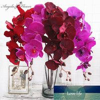 8 Heads Big Orchid Artificial Flower Branch Phalaenopsis Butterfly Black Burgundy Colorful Wedding Home Decor Potted Wholesalers1