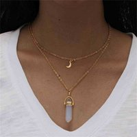 Fashion Children's Glass Hexagonal Prism Necklaces Jewelry Girls Double Moon Crescent + Bullet Kids Cute Party Pendant Necklace Accessories G7974O2