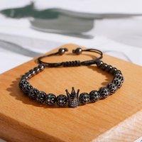 Cuentas, hebras de lujo blanco cz brazalete pulsera encanto hueco bola hombres joyería macrame beads brazaletsbangles para mujeres