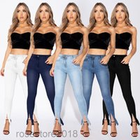 Women's Jeans Women High Waist Trousers Skinny Blue Denim Pants Casual Slim Split Pencil pants cy6908