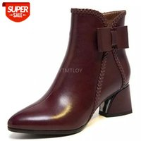Hot Women's Ankle Boots Natural Leather Shoes Plus Size Autumn And Winter Short Plush Warm British Casual Boots Butterfly-Knot #4y7l