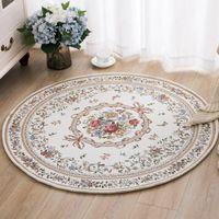 Vinalife stile pastorale in stile rotondo tappeto floreale tappetino decorativo europeo tappeto decorativo lavabile tappetino tappetino tappetino per computer camera da letto