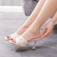 Slippers Design Square Toe Thin High Heels Women Sandals Fashion Slip On Slides Summer Woman Shoes Mules
