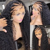 Black Color Curly Synthetic Lace Front Wig 180% Heavy Density Heat Resistant Fiber Long Curl Headband Wigs Daily Wear Synthetics laces frontwig