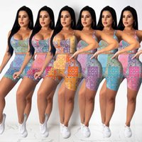 Women Sportswear Tracksuits Summer Designer Fashion Sexy Color Cashew Two Piece Set Show Figure Personalized Printing Hanging Small Belt Bra Pant Suit