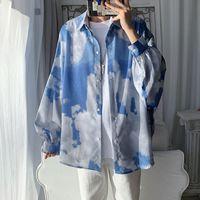 Autumn Tie-dye Shirt Men's Fashion Retro Casual Men Streetwear Wild Loose Korean Long-sleeved Mens Dress M-2XL