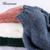 Hirsionsan Sweater Women Winter Mink Cashmere Pullovers Casual O Neck Soft Warm Jumper Autumn Mohair Sweaters Pull Femme 210603