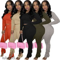 autumn and winter Women Designer Two Pieces Outfits Solid Colour Long Sleeve Top Pleated Trousers Ladies New Fashion Pants Set Yoga Sportwear Trac lulu365