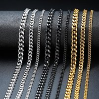 Chains Vnox Basic Punk Stainless Steel Necklace For Men Women Curb Cuban Link Chain Chokers Vintage Black Gold Tone Solid Metal