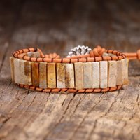 Tennis Women Bangle Bracelets Natural Stone Fossilized Coral Beads Leather Rope Men Exclusive Bohemia Wrap Gift