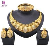 Dubai Gold Color Crystal Bijoux Ensemble Pour Femme Collier Boucles d'oreilles Bracelet Bague Italienne Bridal Mariage Accessoires Ensembles de bijoux