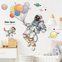 Wall Stickers Cartoon Outer Space Astronaut Sticker For Kids Rooms Nursery Removable Decor Balloon Decals Home