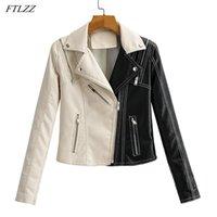 Женская кожаная фабрика Ftlzz весна осенью женщин короткая куртка черный белый сплайсинг мото велосипед PU пальто тонкий дизайн на молнии локомотив