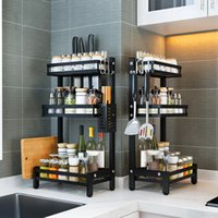Shelf Thickened Stainless Kitchen Steel Multi-layer Seasoning Multi-functional Storage Rack for Oil, Salt, Soy Sauce and