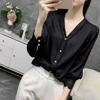 Damskie Bluzki Koszule Moda Damskie Topy i Plus Size Szyfonowa Bluzka Koszula V Neck Office Długi Rękaw Women Button Up Blusas