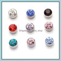 Earrings Jewelryearrings For Wholesale Fashion Mticolor Round Rhinestone Crystal Plastic Hypoallergenic Earring Women Girl Jewelry Stud Drop