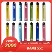 Bang XXL 전자 담배 고품질 일회용 vape 포드 2000 퍼프 24 색 800mAh 배터리 미리 페로 칠 6ml 탱크 PK 퍼프 바 최대 공기 럭스 플러스 Kangvape GunnPod Geek