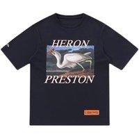 Designer HP Prestons Heron new single crane male and female couple loose fog high street short sleeve national fashion American T-shirt
