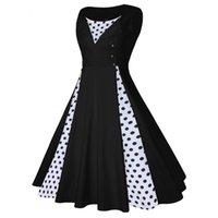 Casual Dresses Women's Vintage Dresse Fashion Retro Polka Dot Stitching Lapel Sleeveless O-Neck Dress Party Rockabilly Clothing Vestido