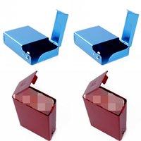 Coque de cigarette en métal rouge Ouverture de couleur solide ouverture en alliage d'aluminium rectangle de paquet multicolore accessoires de fumer 8 4by j2