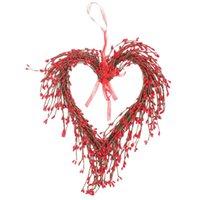 عيد الحب الأحمر التوت القلب شكل الباب الأمامي ديكورات جارلاند عيد الحب ديكور المنزل في الهواء الطلق حزب