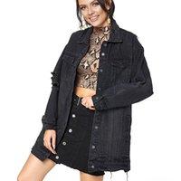 Women's Jackets Autumn Women Long Denim Jacket Fashion Sleeve Tassel Ripped Jean Woman Vintage Loose Single Breasted Black Outerwear