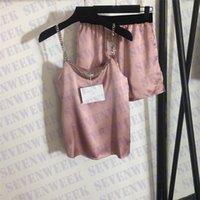 Sommer Silk Pyjamas Sets Metallkette Sling Tops Shorts Frauen Sexy Sleepwear Home Kleidung Zwei Stück