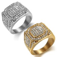 Stainless Steel Iced Out Crystal Gold Silver Plated Band Rings For Men Party Club Hip Hop Jewelry