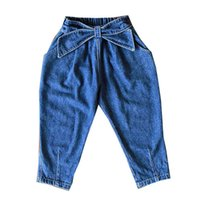 Mädchen Jeans Kinder Harem Hosen Baumwolle Denim Kinder Jeans Frühling Herbst Casual Hose Bögen Kinder Kleidung 2-8Y B4004