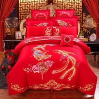 Bedding Sets Luxury 100% Cotton Chinese Tradition Red Wedding Set Embroidery Duvet Cover Bed Sheet Queen King Size 4/6/8pcs Bedlinen