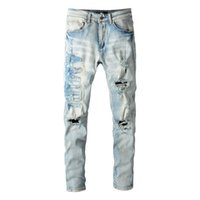 20SS Mens Designer Jeans Distressed Ripped Biker Slim Fit Motorcycle Denim For Men s Top Quality Fashion jean Mans Pants pour hommes #697