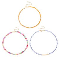 Chokers Simple And Fashionable Rice Bead Stacking Necklace Ethnic Style Clavicle Chain Accessories