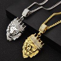 Trendy Hip Hop Crown Lion Head Pendant Necklaces Accessories Mens Women Punk Jewelry 76cm Chains length Cubic Zirconia Stone Gold Silver