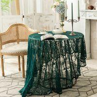 Старинные темно-зеленые кружевные столовые ткани круглые чайные столы скатертью Европа Америка стиль скатерти для дома украшения