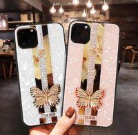 3D Butterfly Flower Bling Diamant Hard PC + TPU Cas pour iPhone 12 2020 5.1 6.4 6.7 11 PRO Max XR XS MAX 10 x 8 7 6 Plus la couverture arrière de la mode