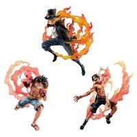 Mais novo Um pedaço Luffy Portgas D ACE Battle Fire Punch PVC Sabo Acção Figura Figurine Toys T30 Y0705