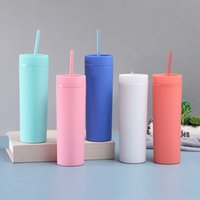 Water Bottles 16oz Mugs Acrylic Tumblers Matte Colors Double Wall Tumbler Coffee Drinking Plastic Sippy Cup With Lid Straws