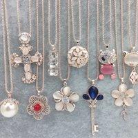 Donne maglione catena collane ciondoli nuovi gioielli rosa fiore fiore croce gatto occhio gemma pietra pietra austriaca cristallo moda strass pendente collana